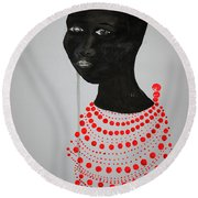 Dinka Bride - South Sudan Round Beach Towel