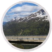 Mountain Road Round Beach Towel