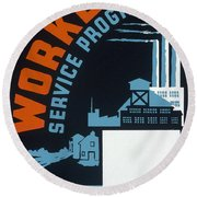 New Deal Wpa Poster Round Beach Towel
