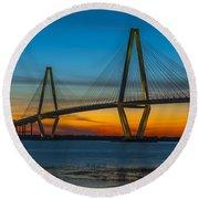 Arthur Ravenel Jr. Bridge At Sunset Round Beach Towel