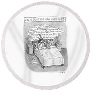 Captionless; Drive Your Man Crazy Round Beach Towel by Roz Chast