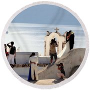 The Shoot On Santorini In Greece Round Beach Towel