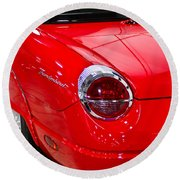 2002 Red Ford Thunderbird-rear Left Round Beach Towel