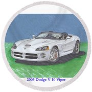 2005 Dodge V-10 Viper Round Beach Towel
