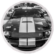 2007 Ford Mustang Shelby Gt500 Painted Bw  Round Beach Towel
