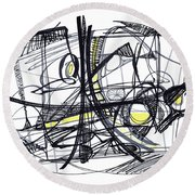 2010 Abstract Drawing 27 Round Beach Towel