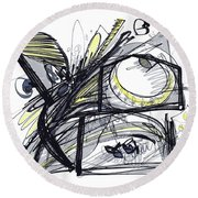 2010 Abstract Drawing 28 Round Beach Towel
