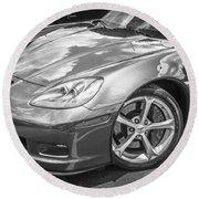 2010 Chevy Corvette Grand Sport Bw Round Beach Towel