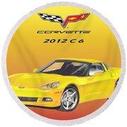 2012 C 6 Corvette Round Beach Towel