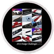 2012 Dodge Challenger-white-1 Round Beach Towel