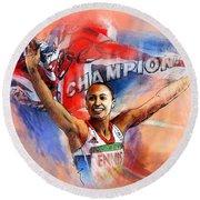 2012 Heptathlon Olympics Gold Medal Jessica Ennis  Round Beach Towel