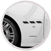 2012 Maserati Gran Turismo S B And W Round Beach Towel