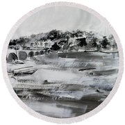 2013-008 Arlington Memorial Bridge And Potomac River - Silver And White Round Beach Towel