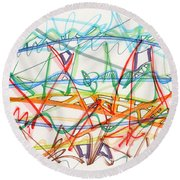 2013 Abstract Drawing #7 Round Beach Towel