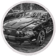 2013 Ford Shelby Mustang Gt 5.0 Convertible Bw  Round Beach Towel