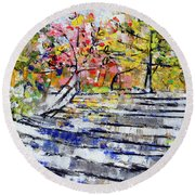 2014 19 Silver And Blue Stairs To Pink And Yellow Woods Srpsko Sarajevo Round Beach Towel