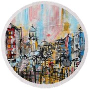 2014 23 City Street With Church At Sunset Srpsko Sarajevo Round Beach Towel