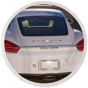 2014 Porsche Cayman White Round Beach Towel
