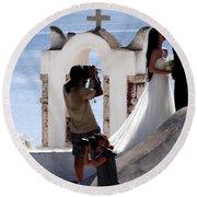 Views Of Santorini Greece Round Beach Towel