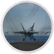 An Fa-18c Hornet Launches Round Beach Towel
