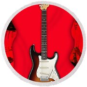 Fender Stratocaster Collection Round Beach Towel