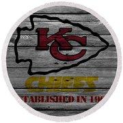 Kansas City Chiefs Round Beach Towel by Joe Hamilton