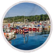 Lyme Regis Harbour Round Beach Towel