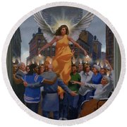 23. The Holy Spirit Arrives / From The Passion Of Christ - A Gay Vision Round Beach Towel