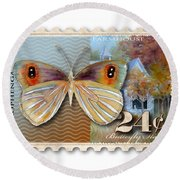 24 Cent Butterfly Stamp Round Beach Towel