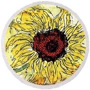 24 Kt Sunflower - Barbara Chichester Round Beach Towel