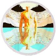 24x36 Reflective Angel Bb Round Beach Towel