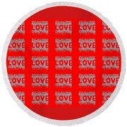 25 Affirmations Of Love In Red Round Beach Towel
