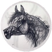 Arabian Horse  Round Beach Towel