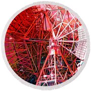 26 East Antenna Abstract 2 Round Beach Towel