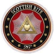 26th Degree - Prince Of Mercy Or Scottish Trinitarian Jewel On Black Leather Round Beach Towel