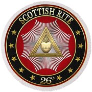26th Degree - Prince Of Mercy Or Scottish Trinitarian Jewel On Red Leather Round Beach Towel