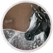 Arabian Horse Round Beach Towel by Angel  Tarantella