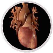 Heart Anatomy Round Beach Towel