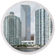 Skyscrapers At The Waterfront Round Beach Towel