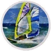 Windsurfing Round Beach Towel