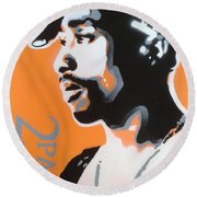 2pac In Orange Round Beach Towel