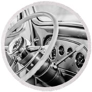 1933 Pontiac Steering Wheel -0463bw Round Beach Towel