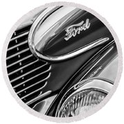 1939 Ford Woody Wagon Side Emblem Round Beach Towel