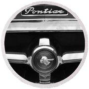 1951 Pontiac Streamliner Grille Emblem Round Beach Towel