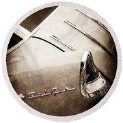 1955 Chevrolet Nomad Wagon Taillight Emblem Round Beach Towel