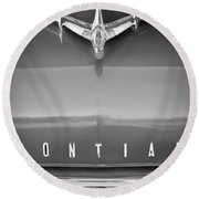 1955 Pontiac Safari Hood Ornament Round Beach Towel
