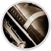 1955 Pontiac Star Chief Grille Emblem - Hood Ornament Round Beach Towel