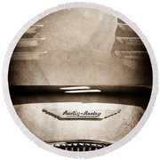 1956 Austin-healey 100m Bn2 'factory' Le Mans Competition Roadster Hood Emblem Round Beach Towel