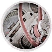 1956 Ford Thunderbird Steering Wheel Round Beach Towel
