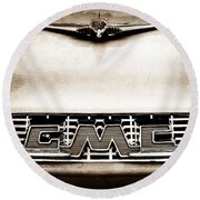1956 Gmc 100 Deluxe Edition Pickup Truck Hood Ornament - Grille Emblem Round Beach Towel